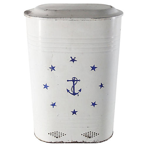 Midcentury Nautical Tole Bin