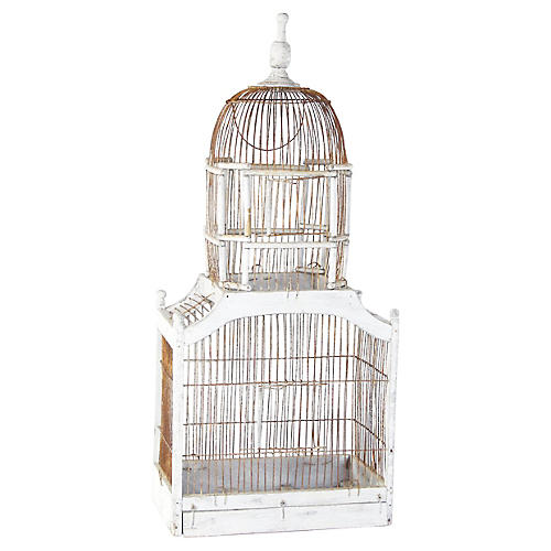 White Dome-Tower Wood & Wire Birdcage