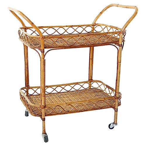 Midcentury Bamboo & Rattan Bar Cart