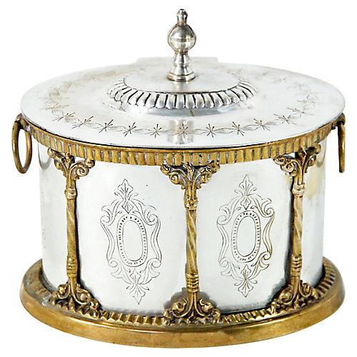 Silver Plate & Brass Tea Caddy