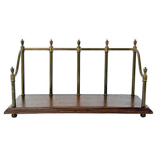 English Oak & Brass Book Stand