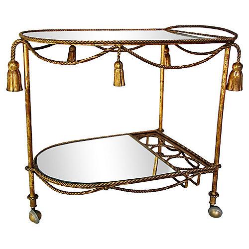 Italian Rope & Tassel Gilt Bar Cart