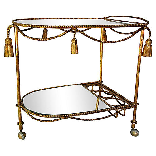 Italian Rope & Tassel Gilt Bar Cart