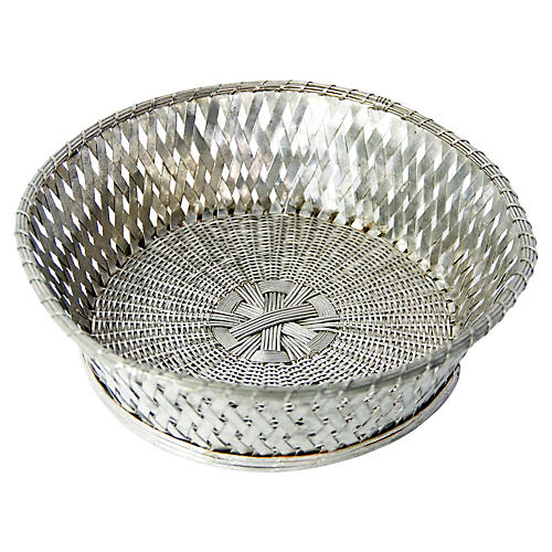 19th-C. French Silver-Plate Bread Basket