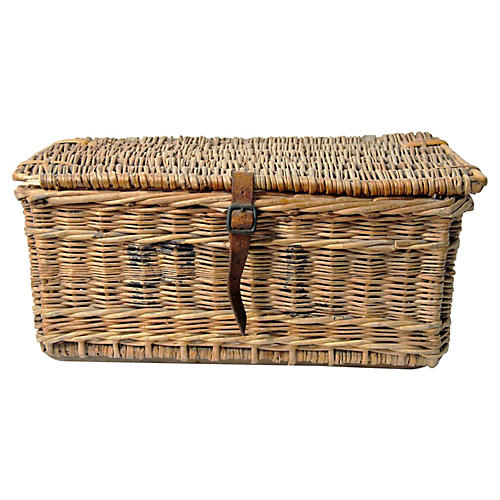French Wicker Laundry Trunk W/ Leather