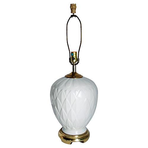 Chinoiserie White Lotus & Brass Lamp