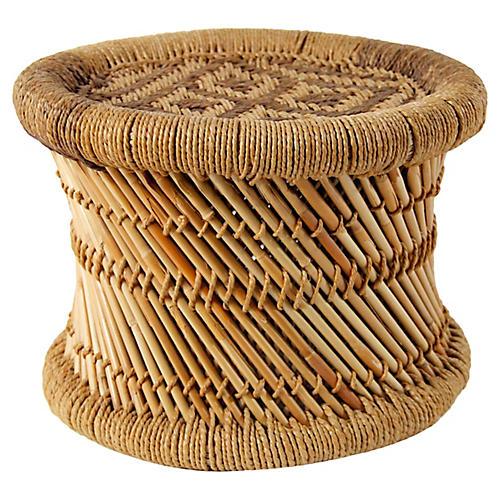 Midcentury Bamboo & Jute Drum Stool