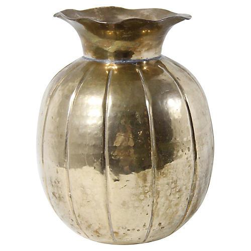 Hammered Brass Fluted Vase