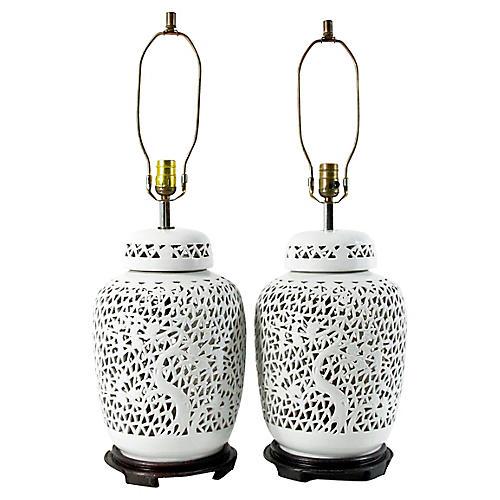 Piercework Blanc de Chine Lamps, Pair