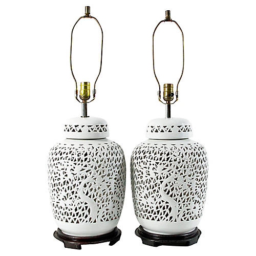 Piercework Blanc de Chine Lamps, Pair