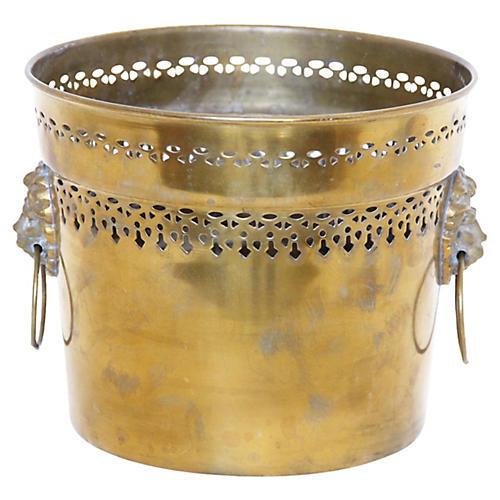 Reticulated Brass Lion's Head Cachepot