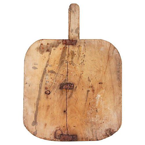 19th-C. Bread Board W/Metal Braces