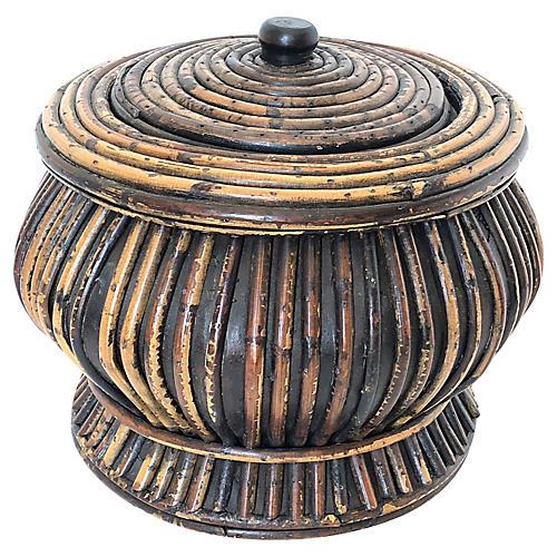 Midcentury Tortoise Bamboo Box