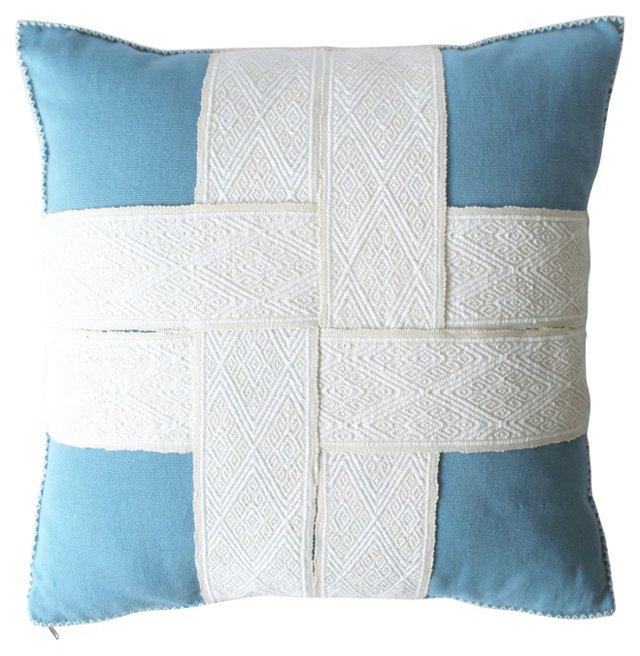 Chiapas Blue Woven Strap Pillow