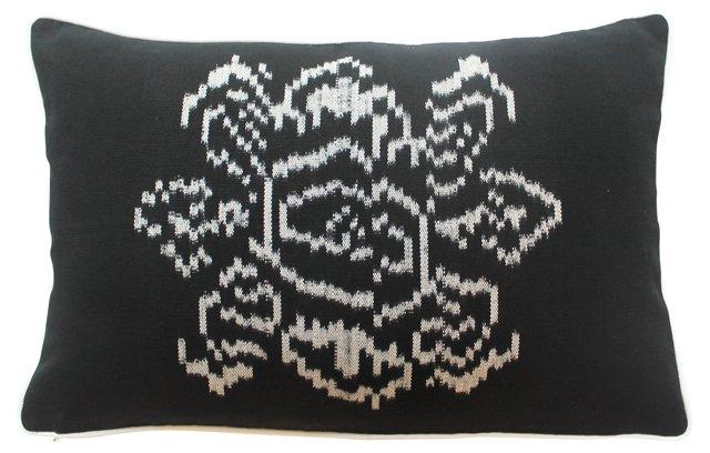 Black & White Ikat Flower Pillow