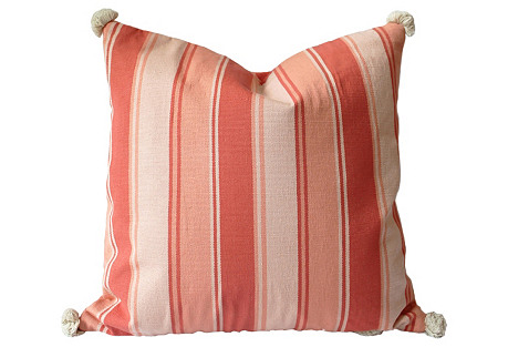 Woven Coral Stripe Pillow