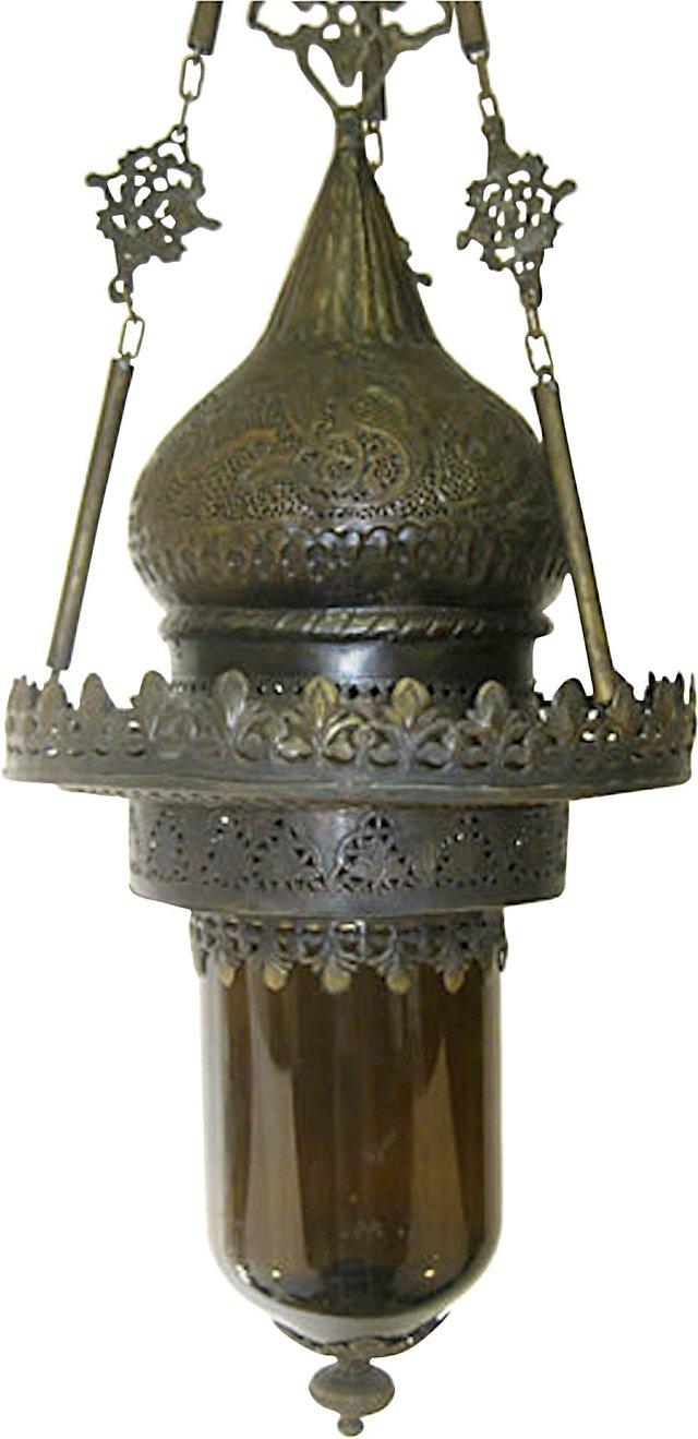 Turkish Brass & Glass Pendant