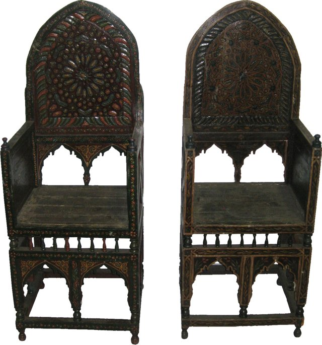 Moroccan High-Back Chairs, Pair