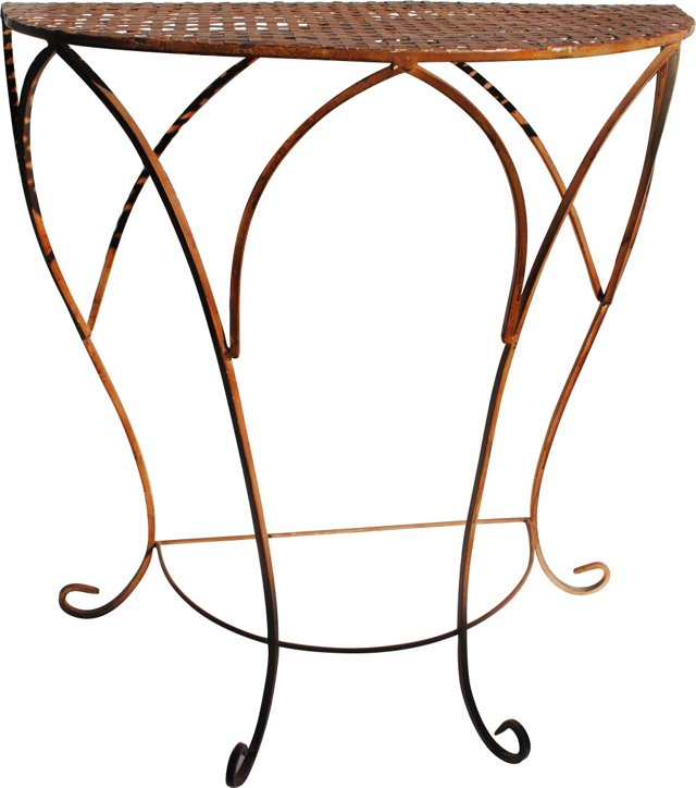 Iron Demilune Table