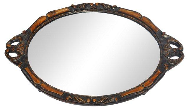 Mirror Tray w/ Carved Wood Border