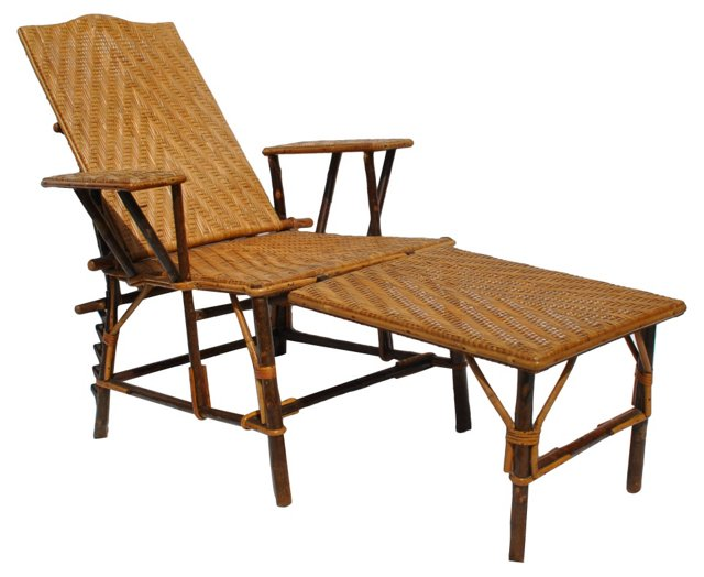 1920s Wicker & Bamboo Chaise