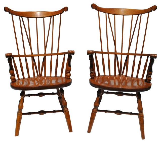 Windsor Comb Back Armchairs, Pair