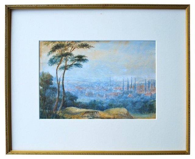 European Landscape Watercolor, 1854