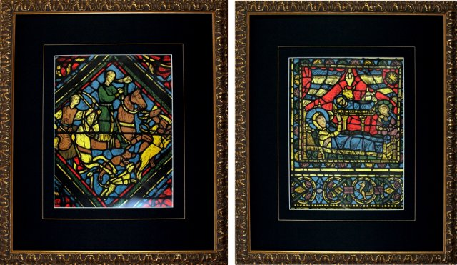 Stained Glass Chromolithographs, Pair