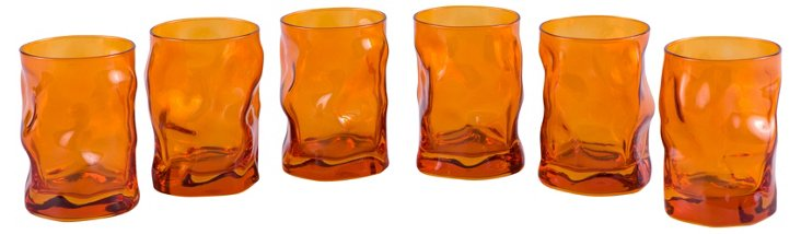 Orange Pinched Glasses, Set of 6