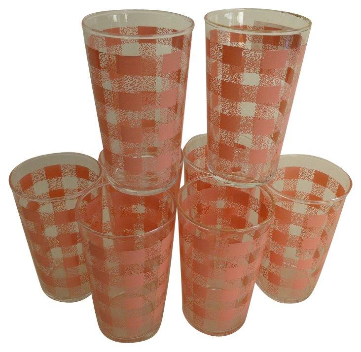 Pink Gingham Glasses, S/8