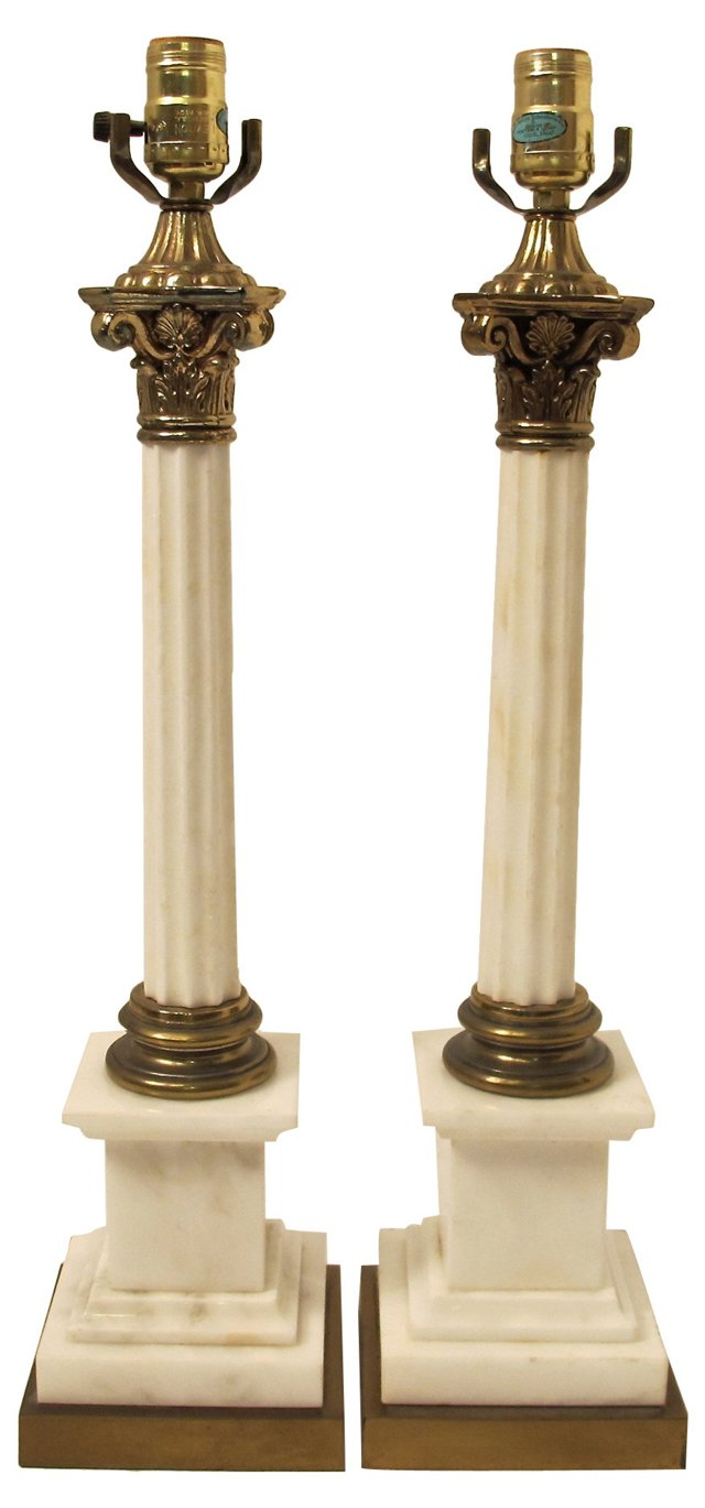 Marble Fluted Column Lamps, Pair