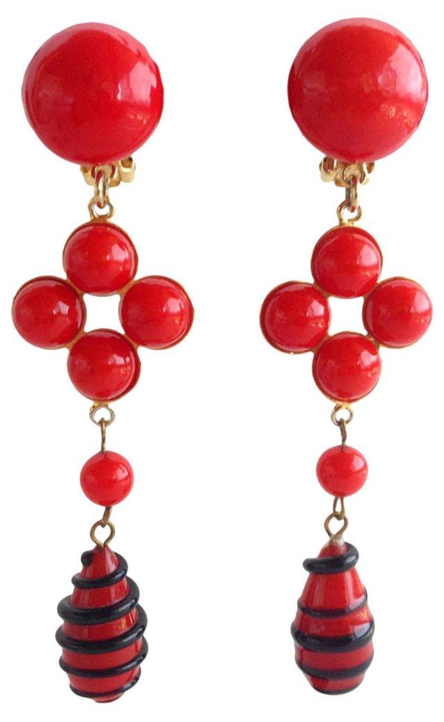 Moschino Red Glass Drop Earrings