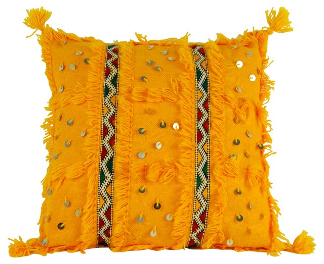 Yellow Embroidered Moroccan Pillow