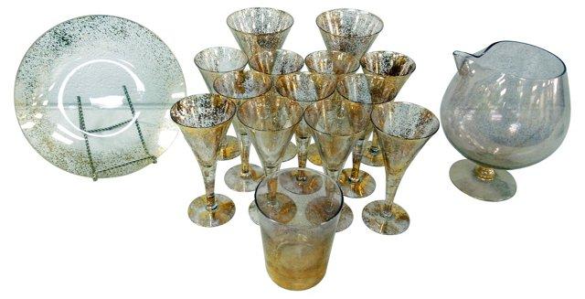 Dorothy Thorpe Gold Splatter Glass, S/16