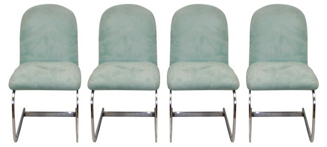 Chrome & Ultrasuede Chairs, S/4
