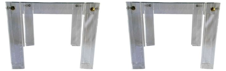 Lucite   & Brass End Tables, Pair