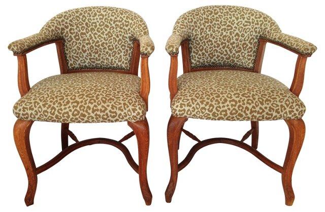 Cheetah-Print Club Chairs, Pair