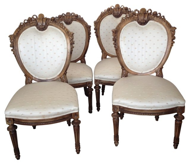 Carved Dining Chairs, S/4