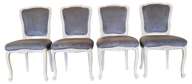 Velvet Dining Chairs, S/4
