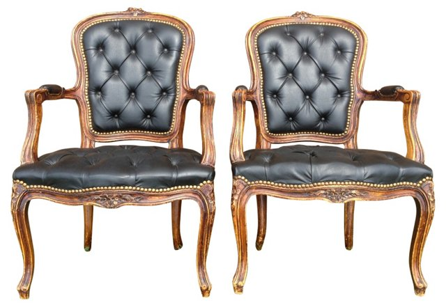Antique Leather Armchairs,  Pair