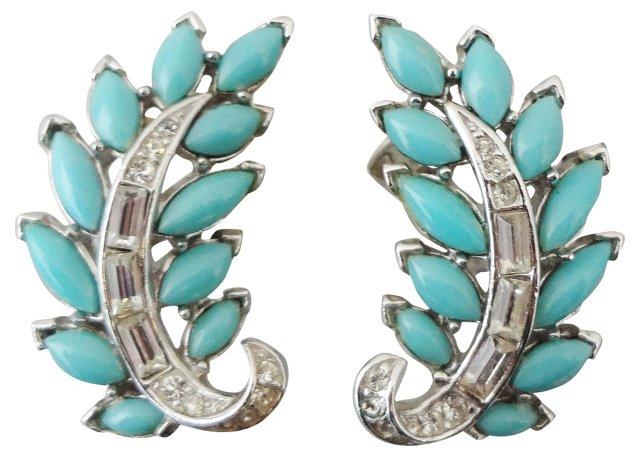 Trifari Faux-Turquoise Earrings