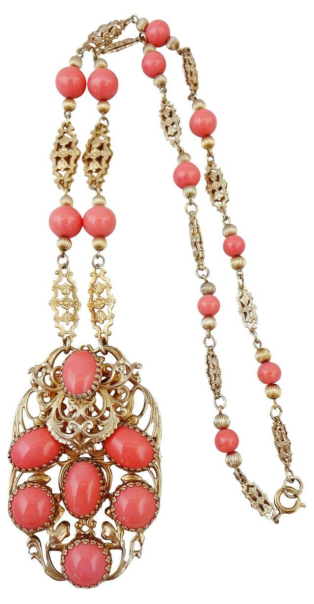 1960s Napier Faux-Coral Necklace