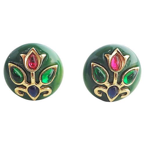 1960s Trifari Cabochon Earrings