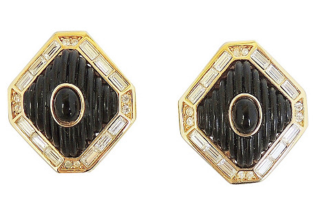 Dior Black Lucite & Faux-Onyx Earrings