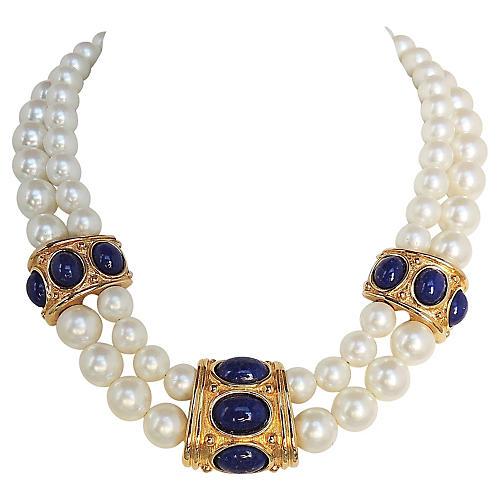 Napier Faux-Pearl & Faux-Lapis Necklace