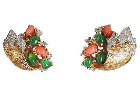 Jomaz Faux-Emerald & Faux-Coral Earrings
