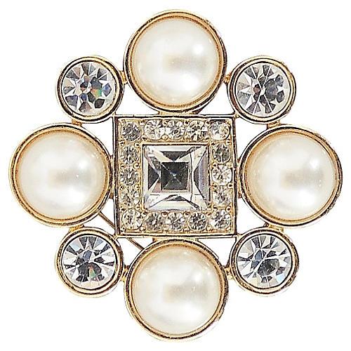 1980s Monet Goldtone Faux-Pearl Brooch