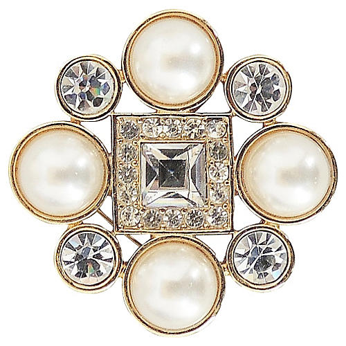 1980s Monet Goldtone Faux-Pearl Brooch