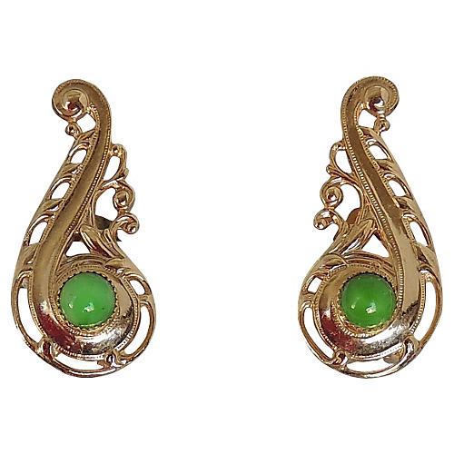 Napier Faux-Jade Cabochon Earrings