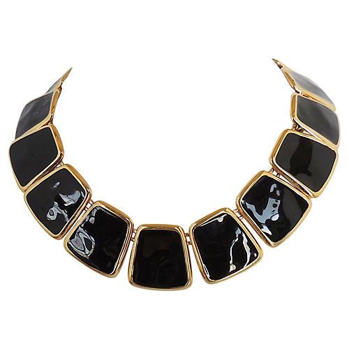 Monet Black Enamel Collar, 1972
